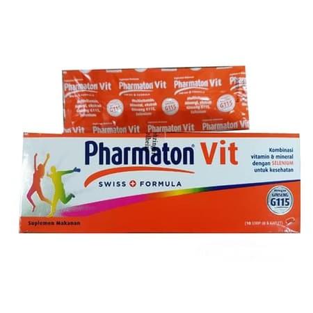 PHARMATON VIT merupakan kombinasi dari multivitamin, mineral dan ekstrak gingseng serta diperkaya Selenium yang digunakan untuk menjaga stamina dan kesehatan tubuh setelah operasi dan pada masa pemulihan.