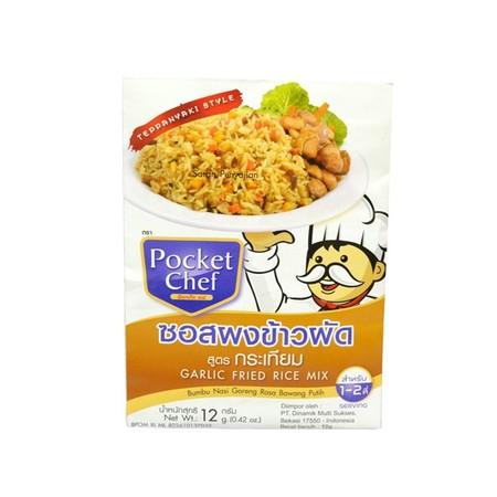 Pocket Chef Garlic Fried Rice Mix 12Gr Merupakan Bumbu Yang Dapat Digunakan Untuk Membuat Nasi Goreng.