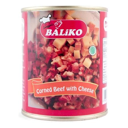 BALIKO CORNED BEEF With Cheese 340gr dengan daging sapi pilihan yang dikombinasikan dengan jamur, rempah pilihan dan keju, semakin membuat rasa daging sapinya semakin nikmat