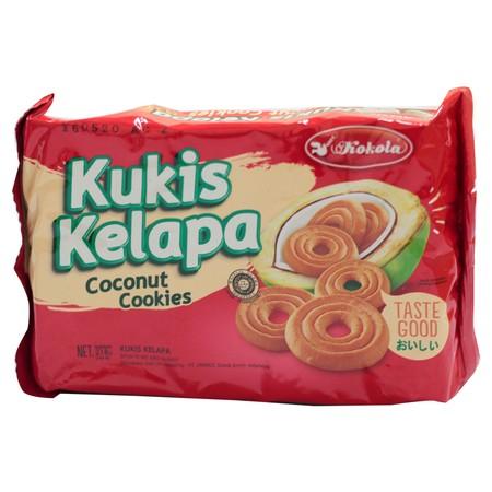 Kokola Kukis Kelapa merupakan kukis dengan rasa Kelapa yang enak dan kemasan yang praktis. Berat 60 gr