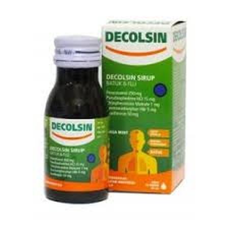 DECOLSIN SIRUP 60 ML. DECOLSIN SIRUP mengandung zat aktif Paracetamol, Guaiphenesin, Phenylpropanolamine, Ethylephedrine, Chlorpheniramine maleat, dan Dextromethorphan HBr. Obat ini digunakan untuk mengatasi gejala flu seperti demam, sakit kepala, bersin-