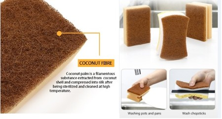 Sponges with coconut fiber. Fill 3pcs / pack With grip, make it easy to clean chopsticks or plates. Washing is easier, and leaves no marks.