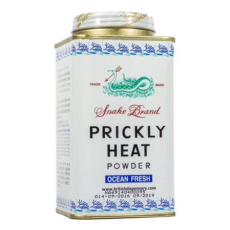 Snake Brand Prickly Ocean Fresh Powder merupakan bedak dingin yang dapat digunakan untuk menghilangkan gatal-gatal seperti biang keringat, untuk mencegah bau badan, untuk membuat badan terasa dingin & sejuk, dan untuk mencegah dari gigitan nyamuk.
