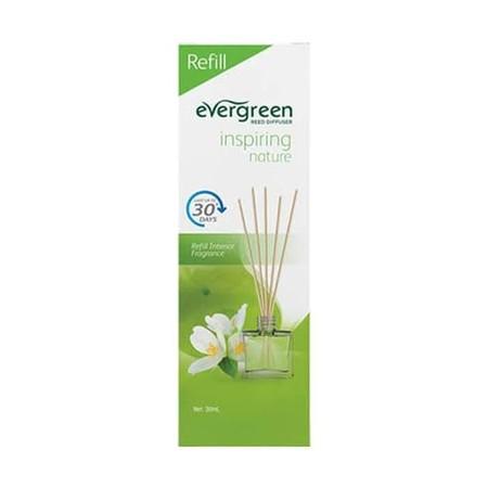 Evergreen Refill Inspiring Nature merupakan pewangi ruangan dengan keharuman floral dan fruity yang menyegarkan serta tahan lama hingga 30 hari. Tidak meninggalkan residu saat ataupun setelah digunakan. Dapat digunakan sebagai tambahan dekorasi ruangan ba