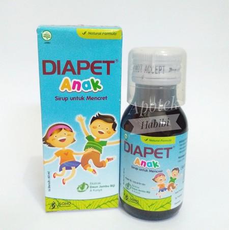 DIAPET ANAK SIRUP merupakan obat yang digunakan untuk mengatasi diare pada anak, mengandung zat aktif herbal berupa ekstrak daun jambu biji, kunyit, buah mojokeling dan kulit buah delima.