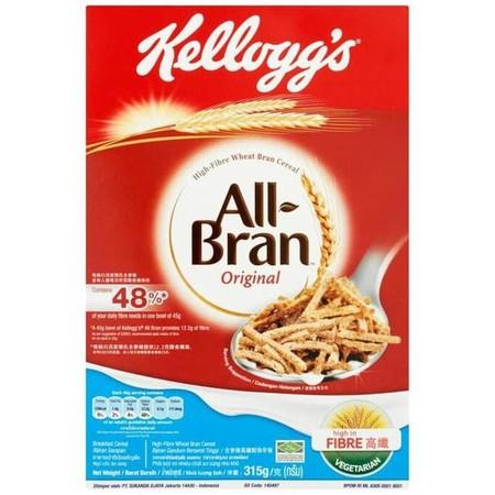 Kellogg'S All Bran Cereal [315 G] Merupakan Sereal Yang Terbuat Dari Gandum Utuh Pilihan Dengan Kualitas Terbaik. Dilengkapi Dengan Banyak Serat, Protein, Vitamin B Dan Karbohidrat. Memiliki Rasa Yang Lezat Dan Renyah Sehingga Sangat Di Gemari Oleh Anak-A