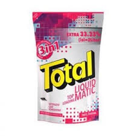 Total Matic Top Loading 2L merupakan detergen halal pertama di Indonesia persembahan Total yang efektif membersihkan noda sampai ke serat terdalam, sehingga membuat pakaian Anda menjadi lebih bersih. Deterjen ini memiliki keharuman yang maksimal yang memb