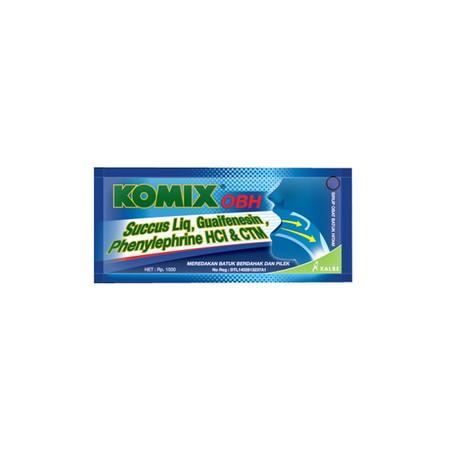 Komix OBH merupakan obat batuk yang diformulasikan dengan kandungan Guaifenesin 100mg, succus liquiritiaea 167mg, ephedrine HCl 4mg, chlorpheniramine malleate 2mg. Ideal untuk meredakan batuk berdahak dan pilek.