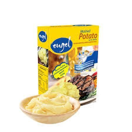 Instant mashed potato dengan variant yang cukup banyak dan menyehatkan. Paket tepung kentang instan dan cita rasa cabai tex-mex. Cukup ditambahkan atau diseduh dengan air panas lalu masak selama 2 menit. Komposisi : Potatoes, vegetable, vegetable oil, lac