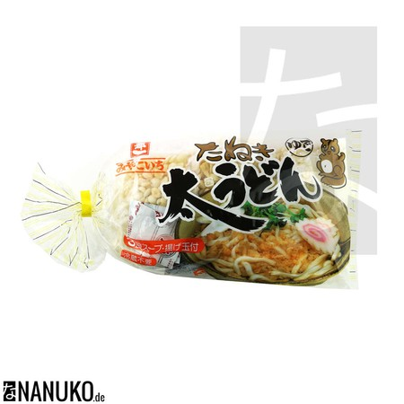 Miyakoichi Futo Udon Tanuki. Japanese instant noodles from the company Miyakoichi. Udon Noodles with soy sauce, soup stock and tempura flakes.