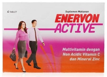 Enervon Active adalah produk suplemen kombinasi vitamin C yg aman untuk lambung, B komplek dan Zinc yg bermanfaat untuk: 1. Memelihara daya tahan tubuh 2. Membantu metabolisme tubuh dalam menghasilkan energi 3. Membantu memenuhi kebutuhan Zinc dalam tubuh