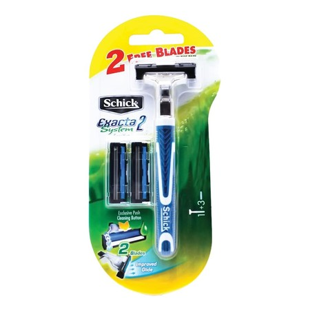 Schick Razor Exacta 2 Reg 2'S - All Surfaces Smooth Shave With 4 Blades - Titanium Coated Blades Help To Smoothly Shaved - Guard Wire, Adding A Blade To Prevent Cuts - The Lube With Aloe Vera. Vitamin E And B5, Together With Moisturizing The Skin - 1 Set