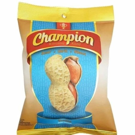 Kacang Champion, Adalah Sajian Kacang Kulit Dengan Kualitas Terbaik. Hanya Menggunakan Kacang Pilihan Sebagai Bahan Utama. Kacang Champion Juga Menghadirkan Rasa Spesial Lainnya, Yaitu Rasa Vanilla. Selain Tetap Gurih, Kacang Champion Juga Membubuhkan Ras