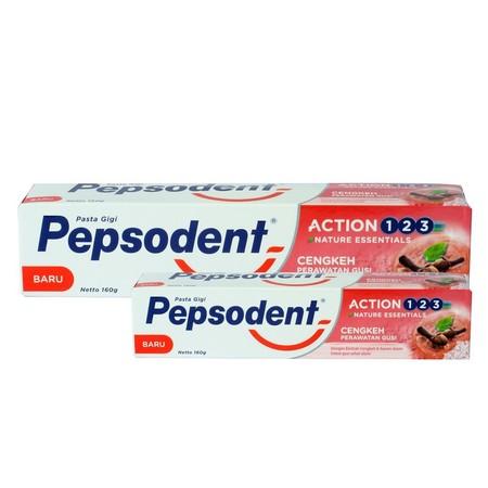 Pepsodent Action 123 merawat kesehatan gigi keluarga Anda semudah menghitung 1,2,3. Memiliki 3 keunggulan dalam 1 pasta gigi yaitu mencegah gigi berlubang, gigi tampak putih dan nafas segar. Mengandung Pro-Flouride dan Kalsium Aktif yang memberi perlindun