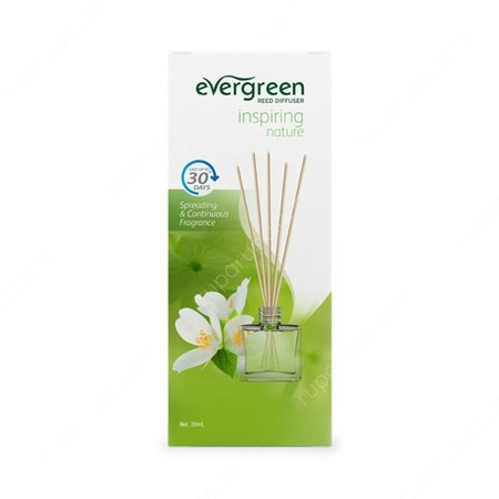 Evergreen Set & Refill Inspiring Nature Diffuser merupakan pewangi ruangan dengan keharuman floral dan fruity yang menyegarkan serta tahan lama hingga 30 hari. Tidak meninggalkan residu saat ataupun setelah digunakan. Dapat digunakan sebagai tambahan deko