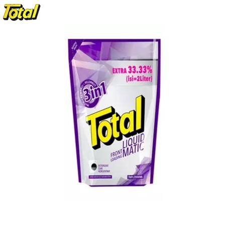 Total Matic Front Loading 2L merupakan detergen halal pertama di Indonesia persembahan Total yang efektif membersihkan noda sampai ke serat terdalam, sehingga membuat pakaian Anda menjadi lebih bersih. Deterjen ini memiliki keharuman yang maksimal yang me