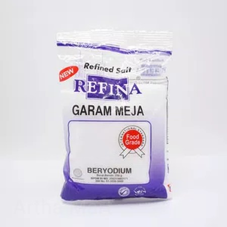 REFINA GARAM MEJA UKURAN 250GR Garam Refina merupakan garam konsumsi dengan tekstur yang halus, putih, dan bersih. Dibuat dengan teknologi refinery pertama yang akan menghasilkan garam sehat dan layak untuk dikonsumsi. Dapat digunakan untuk memasak atau d