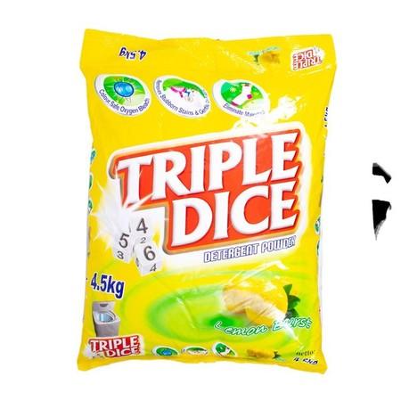 Triple Dice Detergent Powder, Lemon Merupakan Detergen Yang Memiliki Aroma Wangi Dan Menyegarkan. Detergen Dengan Wangi Aroma Lemon Ini Cocok Untuk Mesin Cuci Bukaan Atas.