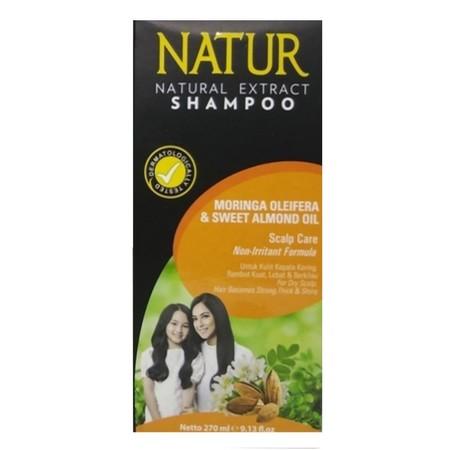 """Natur Shampoo Moringa & Sweet Almond Oil 270Ml """"Dari hasil analisa kandungan nutrisi Moringa Oliefera ini memiliki manfaat sangat baik untuk perawatan rambut rusak seperti bercabang dan pecah-pecah. Ekstrak Moringa Oliefera dan Sweet Almond Oil yang terka"""