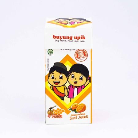 Buyung Upik Sari Jeruk dan Madu Obat Kesehatan Anak [7 mL/10 sachets], obat kesehatan untuk anak dalam bentuk sirup herbal yang sangat mudah untuk dikonsumsi, hanya sobek sachet dan diminum. Buyung Upik sirup ini memiliki rasa jeruk yang manis dan megandu