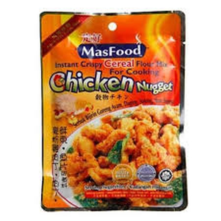 MasFood Instant Crispy Cereal Flour Mix Chicken Nugget Tepung Ayam Goreng Time to replace your favorite processed and additives filled chicken nuggets and make your own healthier version of chicken nuggets with this scrumptious crispy cereal mix. Great fo