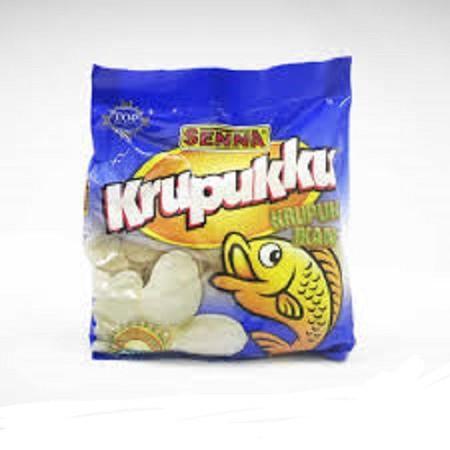 Krupuk Senna Ikan 250 gram terbuat dari Ikan Tengiri dengan kadar ikan sedang.