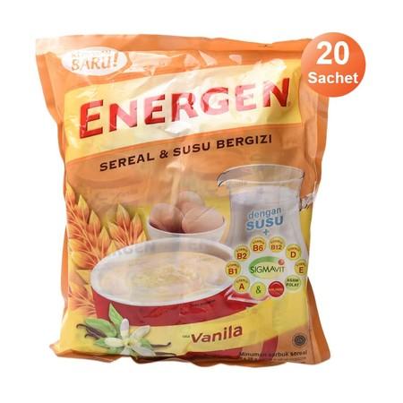 Energen Vanilla Bag [29 G/20 Sachet] 315978 Merupakan Minuman Sereal Dengan Susu Bergizi Yang Mengandung Berbagai Macam Vitamin B, A, D, E, Dan Kalsium Serta Asam Folat. Ideal Dikonsumsi Dipagi Hari Sebagai Sarapan.