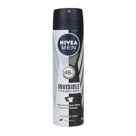 NIVEA Men Deo Invisible for Black & White dengan Teknologi Pencegah Noda (Anti-Staining Technology) mencegah residu menempel di baju. Baju hitam akan tetap hitam dan baju putih akan tetap putih. Formula uniknya melindungi selama 48 jam dari keringat dan m