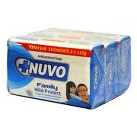Nuvo Family Bar Soap - Biru [72 g] merupakan sabun perawatan kesehatan keluarga yang dapat membunuh kuman sampai 99%, mengurangi bau badan dan rasa gatal pada kulit dan memberikan kesegaran lebih lama.