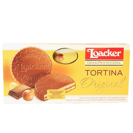 Loacker Tortina Original wafer dengan dark milk chocolate yang lezat, hati yang lembut dari wafer yang renyah, serta isi krim hazelnut terbaik. Dengan proses pemanggangan Loacker yang lembut ini yang memberikan hazelnut dan memiliki rasa yang unik dan kha