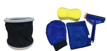 Paket alat kebersihan isi 5 microfiber, spons, sarung tangan microfiber, ember lipat dan karet pembersih kaca.