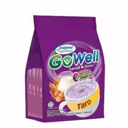Gowell Rasa Taro Susu 29 Gram X 5S Gowell, Minuman Serbuk Sereal Dan Susu Yang Lezat Dan Praktis, Yang Terbuat Dari Bahan Berkualitas, Sehingga Aman Dikonsumsi. Produk Ini Diproduksi Oleh Indofood Nutrition Sebagai Sarapan Praktis Bagi Keluarga. Cukup Dis