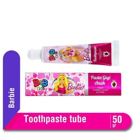 B&B Kids Toothpaste Barbie Gel Toothpaste For Teens With Flouride, Calcium And Xylitol To Keep Their Teeth Strong And Healthy. Specially Formulated With Non-Sugar Formula And Refreshing Sweet Strawberry Flavour.