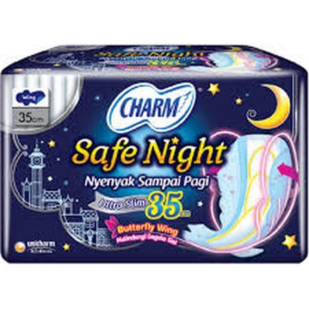Charm Pelindung samping merupakan pembalut wanita yang memberikan perlindungan samping, rasa nyaman dan kering untuk tidur nyenyak semalaman.