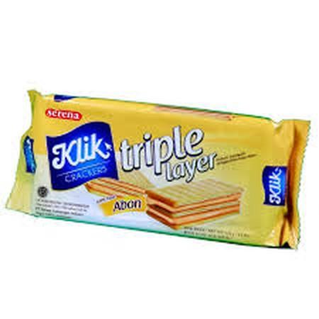 krekers sandwich dengan isi krim rasa abon lezat. Enak dimakan pada saat lapar atau waktu minum teh.