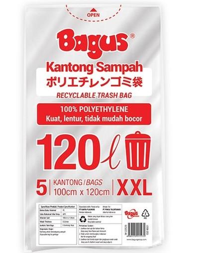 Bagus kantong sampah plastik ukuran XXL 120 Liter isi 5 pcs