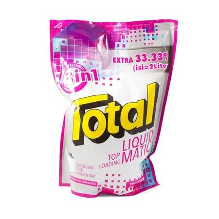 Total Matic Top Loading 1L merupakan detergen halal pertama di Indonesia persembahan Total yang efektif membersihkan noda sampai ke serat terdalam, sehingga membuat pakaian Anda menjadi lebih bersih. Deterjen ini memiliki keharuman yang maksimal yang memb