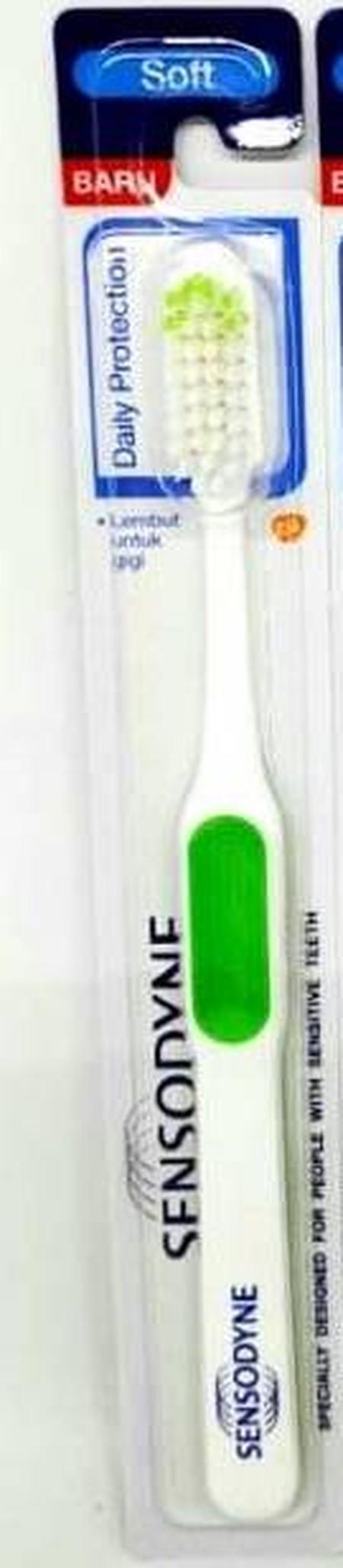 Sikat gigi Sensodyne Daily Protection didesain khusus untuk orang dengan gigi sensitif. Lembut untuk gigi dan gusi. Dengan bulu sikat yang lembut dan berujung bulat,tepat untuk gigi sensitif. Tangkai sikat gigi yang tidak licin dan mudah digenggam,memudah