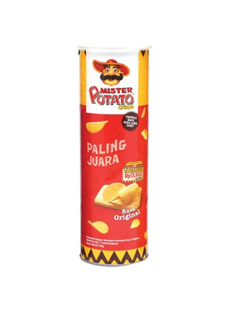 Mr. Potato Adalah Keripik Kentang Dengan Rasa Original Yang Gurih  Terbuat Dari Kentang Asli Pilihan Terbaik, Menjadikan Mister Potato Crisps Original Ini Sebagai Santapan Ringan Yang Dapat Disajikan Kapan Saja Dan Dimana Saja Bersama Teman-Teman Ataupun