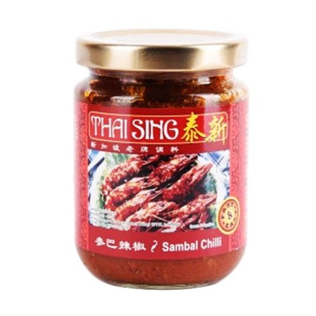 Thai Sing Sambal Chili [225 g] merupakan sambal chili yang terbuat dari bahan alami berkualitas tinggi untuk membuat tekstur masakan lebih nikmat dan lezat. Bumbu masak ini diproses secara modern dan higienis, sehingga menghasilkan cita rasa yang khas dan