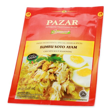PAZAR Bumbu Soto Ayam [100 Gr] merupakan bumbu instant dalam bentuk pasta yang terbuat dari bahan-bahan alami berkualitas terbaik dan diproses secara higienis sesuai standar keamanan pangan hingga menghasilkan rasa yang lezat dan 100% Halal.