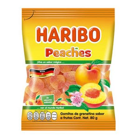 Haribo Hb-Peaches 80Gr Haribo Hb-Peaches 80GrMerupakan Permen Jelly Dengan Rasa Persik Yang Dibuat Dengan Bahan-Bahan Yang Berkualitas Sehingga Menghasilkan Tekstur Yang Kenyal, Diproses Secara Higienis. Cocok Dinikmati Saat Bersantai Bersama Keluarga,