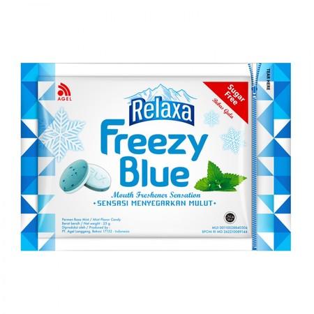 Permen mint compressed tablet dengan mini beads (butiran wangi) dan SUGAR FREE (bebas gula). Relaxa Freezy memiliki 3 variant rasa : Freezy Blue (Mint) Freezy Green (Kiwi & Apel) Freezy Red (Strawberry & Manggis)