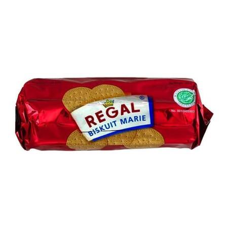 Regal Biscuit 250Gr Pack Regal Biscuit 250Gr PackMerupakan Biskuit Dengan Tekstur Yang Lembut Membuat Makanan Ringan Ini Ideal Dinikmati Semua Kalangan. Di Dalam Sekeping Biskuit Marie Regal, Terdapat Protein, Kalsium, Serat, Karbohidrat, Vitamin A, Vi