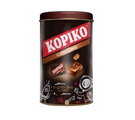KOPIKO Permen Tin 165 Gram. Kopiko candy from the real coffee extract to keeps you awake. Real pocket coffee anytime, anywhere.