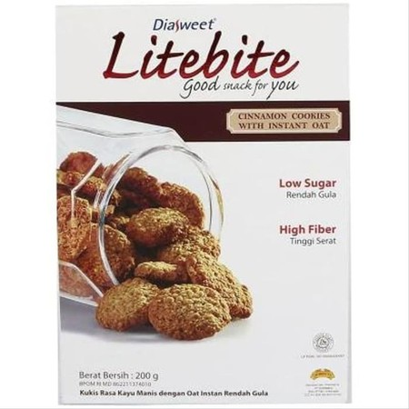 Diasweet Litebite Cookies merupakan makanan ringan berjenis kukis yang memiliki berbagai macam jenis rasa. Mengandung oat instant untuk membantu mempertahankan fungsi saluran pencernaan. Dikemas dalam kemasan kapasitas 200 gram yang pas untuk satu kali ma