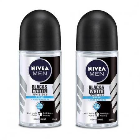 Nivea Men Deodorant Roll On Black & White Fresh memiliki Anti Noda Putih dan Noda Kuning. Sensasi Segar . Anti Bakteri.Perlindungan 48 jam.Teruji secara dermatologi