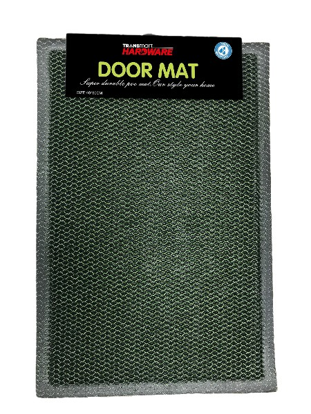Doormat mesh with plain printing. Made from: PVC + PVC firm. Size 40x60 cm. Plain motif, available in (black + green) and (black + gray) Suitable for inside and outside use.  Easy to clean and does keep dirt and dust.