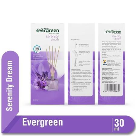 Evergreen Set & Refill Serenity Dream Diffuser merupakan pewangi ruangan dengan keharuman floral dan fruity yang menyegarkan serta tahan lama hingga 30 hari. Tidak meninggalkan residu saat ataupun setelah digunakan. Dapat digunakan sebagai tambahan dekora