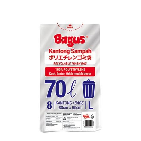 Bagus kantong sampah plastik ukuran L 70 Liter isi 8